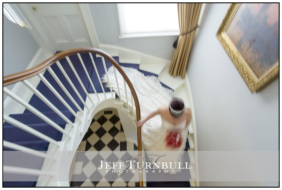 Bride on Staircase at the Fennes Wedding venue