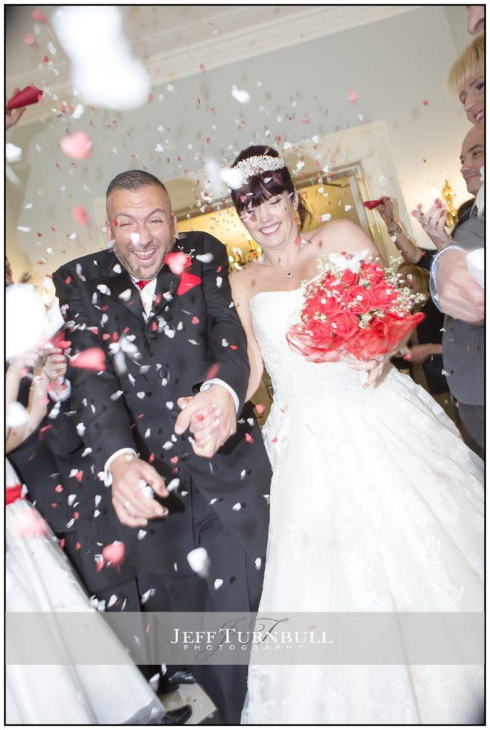 Confetti photo at the Fennes Wedding venue