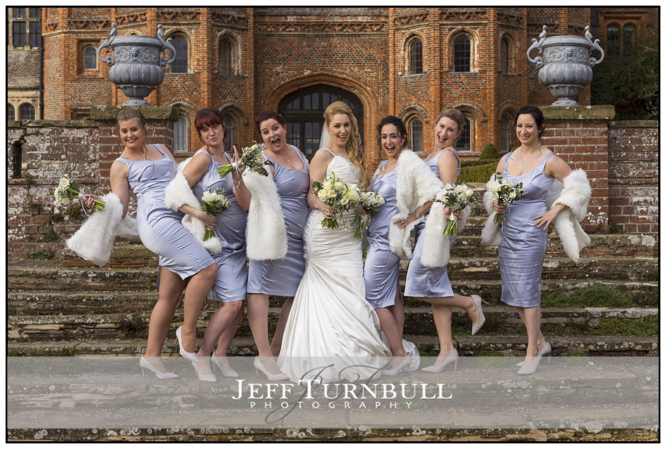 Bridemaids Having Fun Layer Marney Tower Wedding