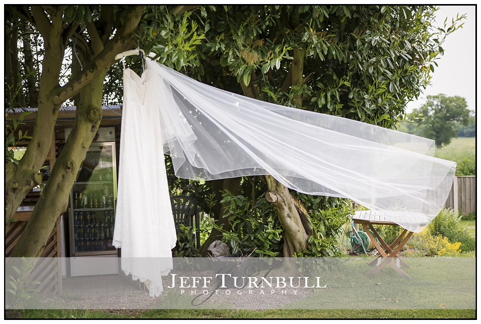 Wedding Dress and Veil hanging on a tree
