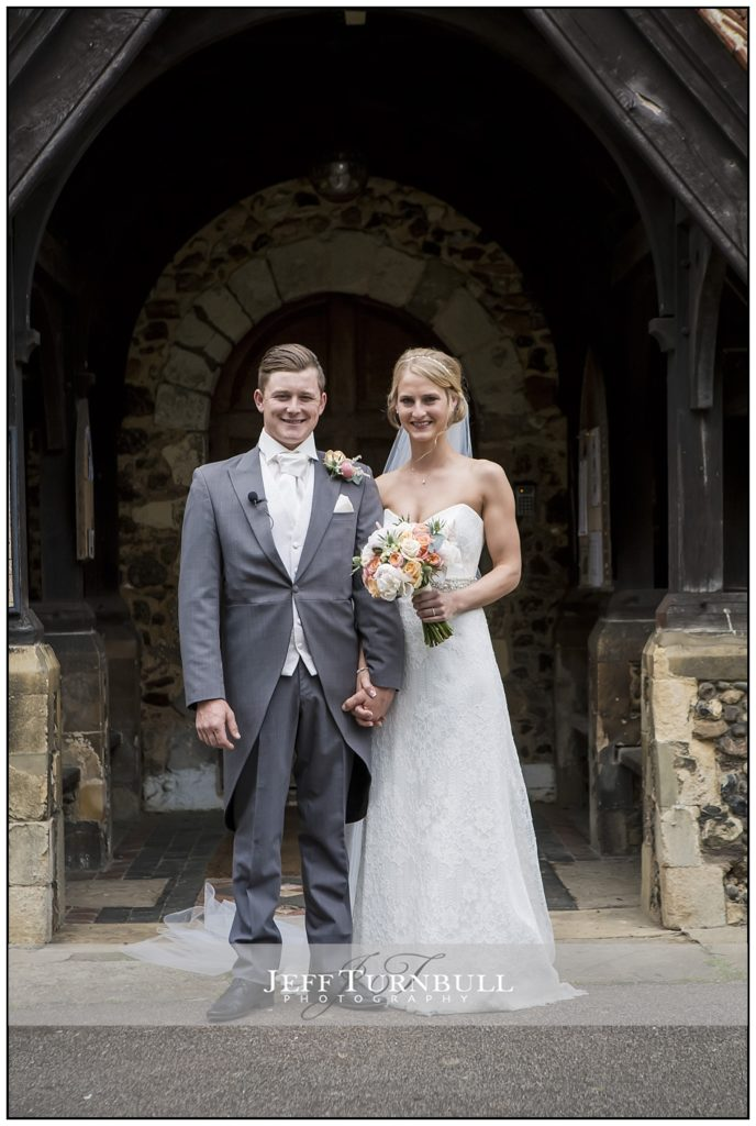 Bride and Groom outside St Mary the Virgin church