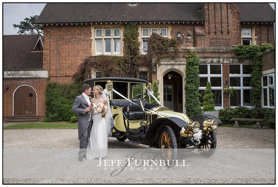 Bride and Groom Vintage Wedding Car Pontlands Park