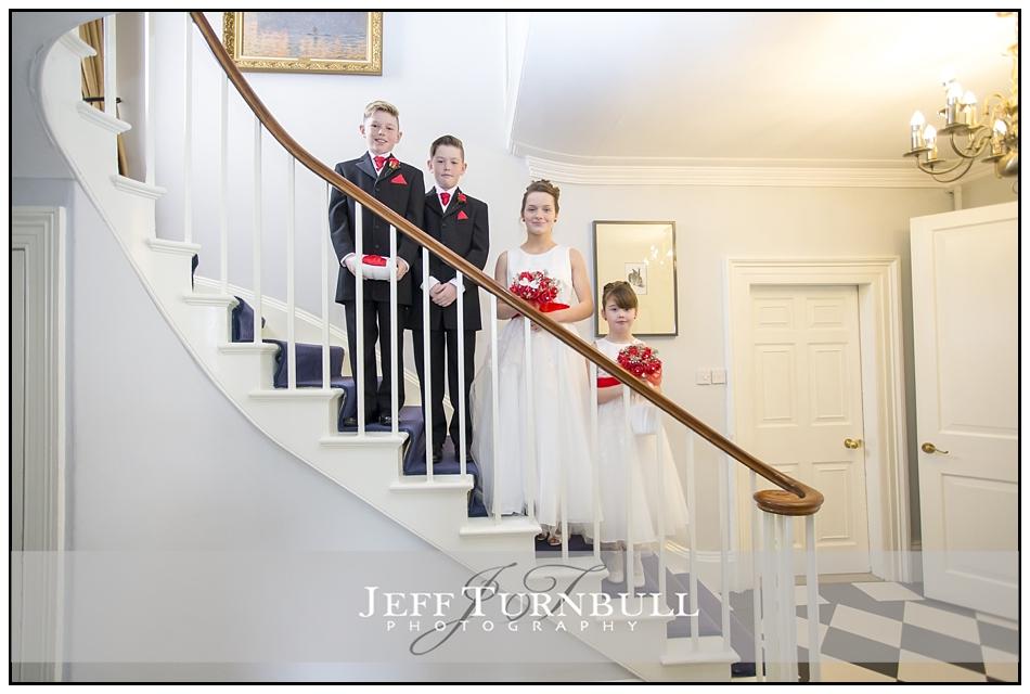 Bridesmaids Pageboys Staircase the Fennes Wedding venue