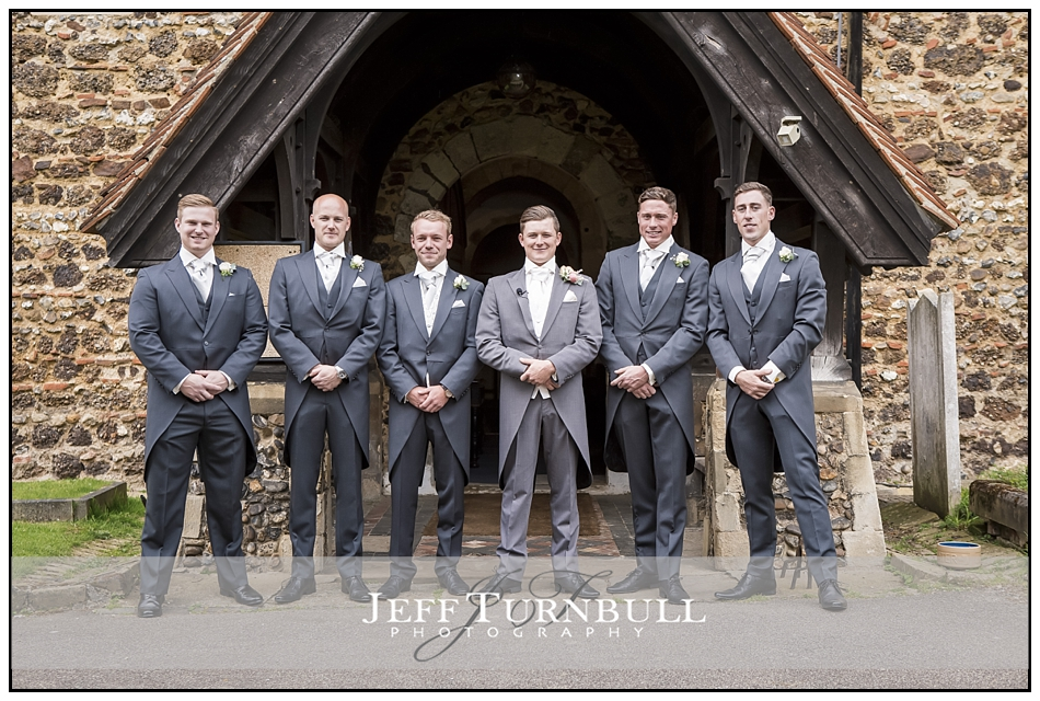 Groom and his Groomsmen outside St Mary the Virgin church