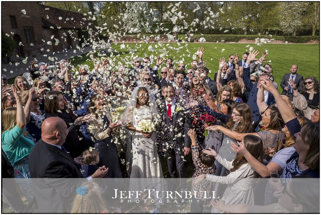 Confetti Bride and Groom Leez Priory