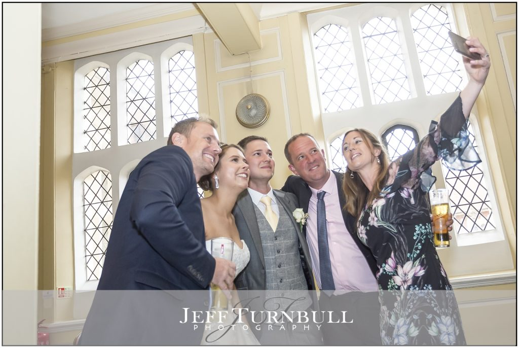 Bride, Groom and Guests at Gosfield Hall Wedding